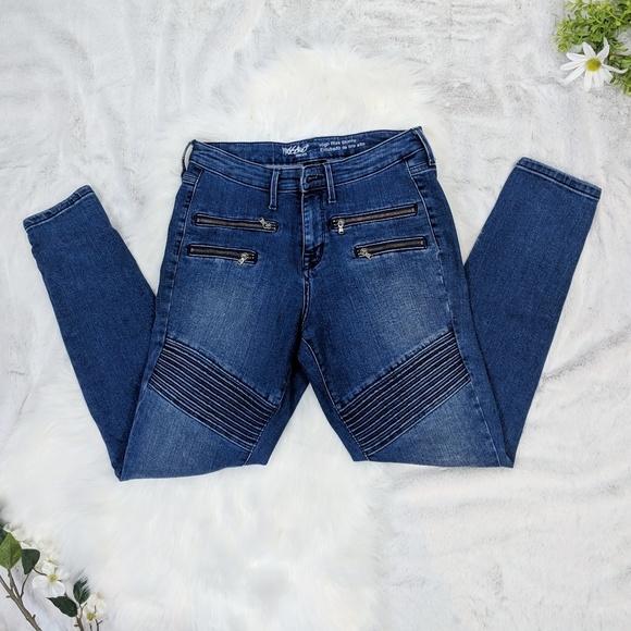 95bf99f37 Mossimo Denim High Rise Skinny moto jeans. M 5c54fd97a31c33191d316044
